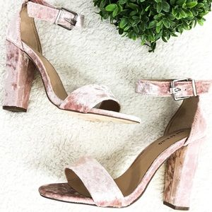 CALL IT SPRING Pink Open Toe Velvet Block Heels